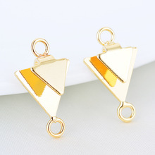 (290) 10PCS 11x19MM 24K Gold Color Plated Brass 2 Holes Double Triangle Stud Earrings High Quality DIY Jewelry Making Findings