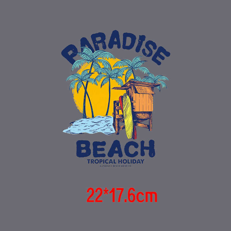Lanskap Pemandangan Patch Besi Pada Transfer untuk Liburan Pemandangan Di Maladewa Surf Board Thermal Stiker Panas Transfer Sticker