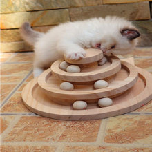 Wood Tower Of Tracks Ball And Track Interactive Toy Cats Fun Cat Game Intelligence Triple Play Disc Cat For Toy Balls все цены