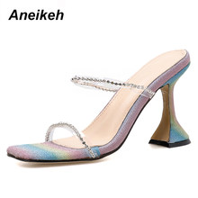 Aneikeh 2020 PVC Sandals Iridescent color Sequins Rhinestone Fashion Women Peep Toe High Heels Sandals Lady Slingback Shoes 41 4(China)