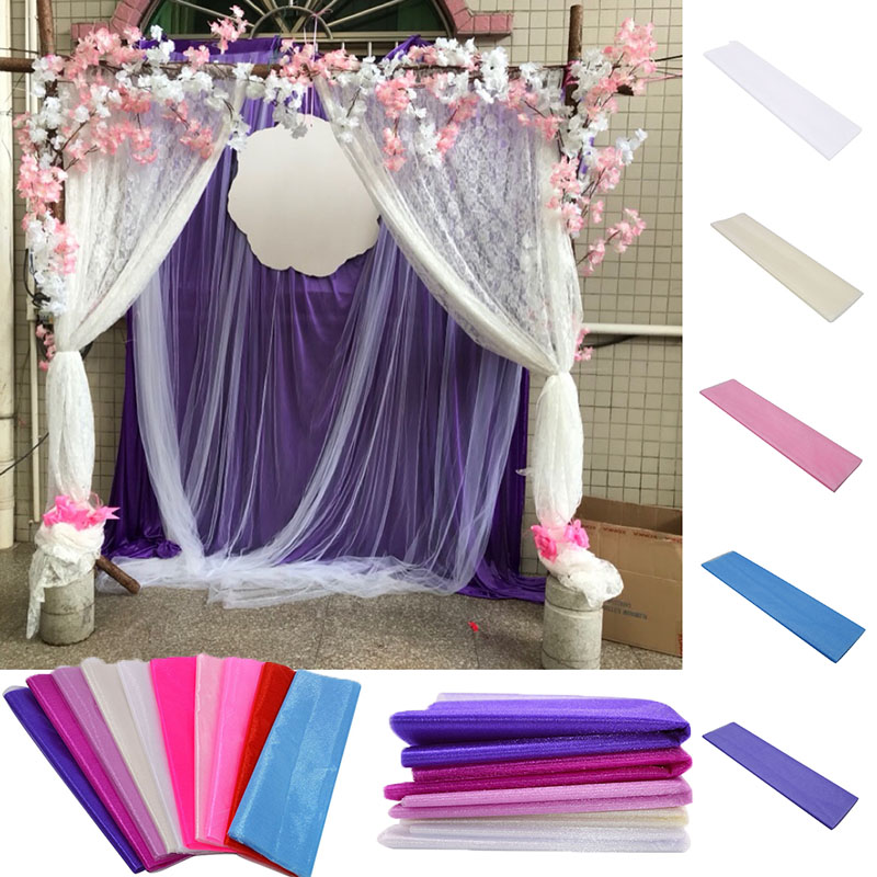 10m Sheer Crystal Organza Tulle Roll Fabric For Romantic Wedding Ceremony Party Home Decoration New Year Decor
