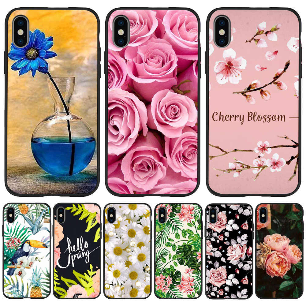 Fiori piante Spider-Man per iphone 11 Pro Copertura Xr Xs Max X 6 6S Plus 5 5S SE TPU Per iphone 7 plus cassa del telefono In Silicone Nero