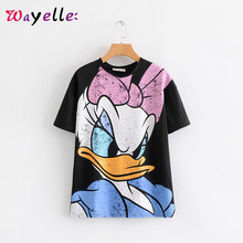 Kawaii Tshirt for Women Donald Duck Printed Shortsleeve T-shirt O-Neck Casual Cotton Tops Shirts