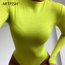 Casual Neon Green Bodysuit Mujer Basic O-neck Sexy Skinny Long Sleeve Body Streetwear White Black Bodycon Romper Overall G1406