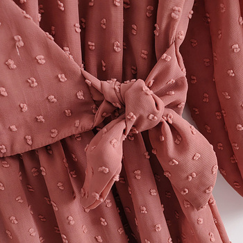 2020 Summer Women Ruffles Lace Chiffon Dress 6