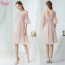 Bridemaid Dress Elegant Pink A-line Knee-length Chiffon with Zipper Back Formal Wedding Party Gown Party Dress 2020 Queen Abby(China)