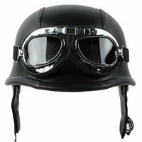 Motorcycle Helmet German Leather Style Half Face Helmet Cruise Chopper Biker Pilot Goggles M L XL motocross casco capacete DOT 2