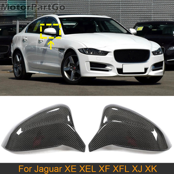 Real Crabon Fiber Mirror Cover Exchange original 1 pair for Jaguar XE XEL 15-18 XF XFL 11-18 XJ 10-16 XK 09-13 T260M 1