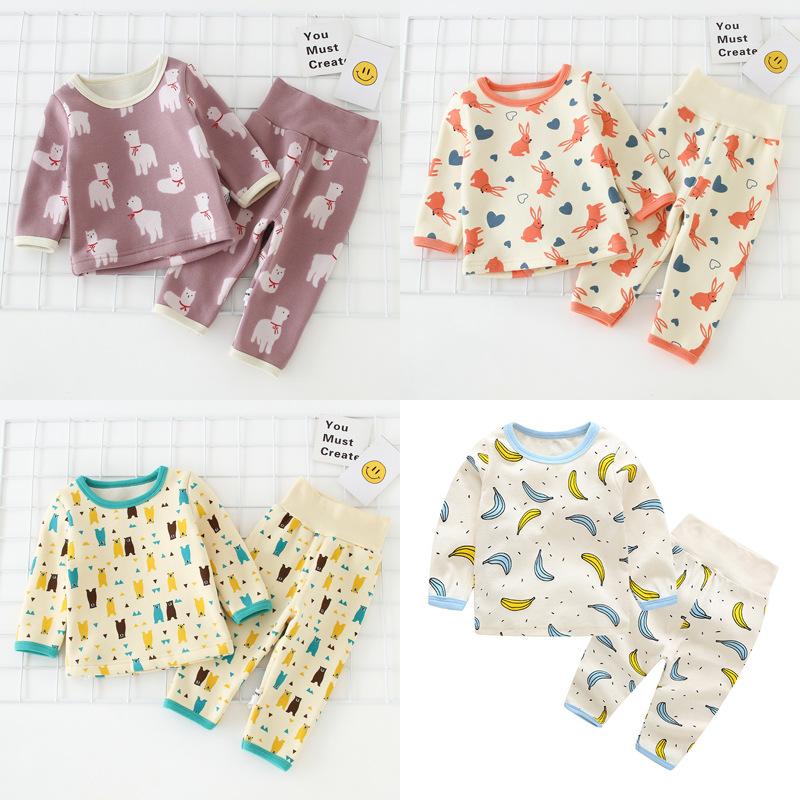 Boy Tracksuit 2018 Winter New Style Korean Models Cartoon Baby Pajamas Long Sleeve Trousers Plus Velvet Suit
