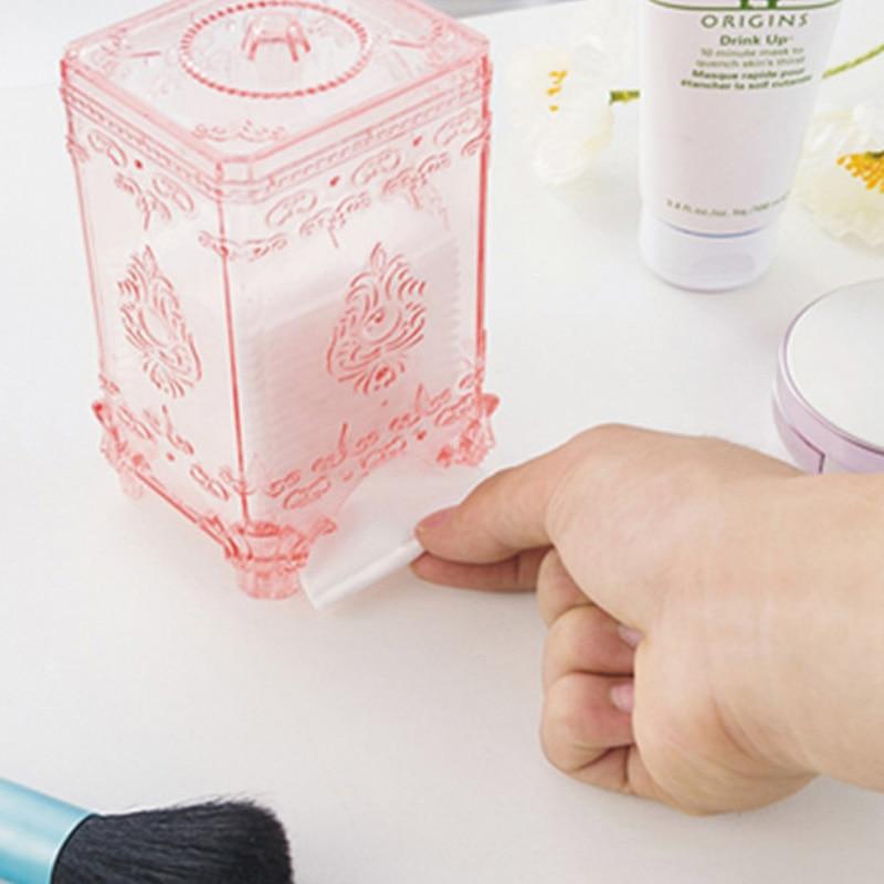 1pcs Desktop cotton pad storage box plastic transparent box Creative European cosmetics storage box