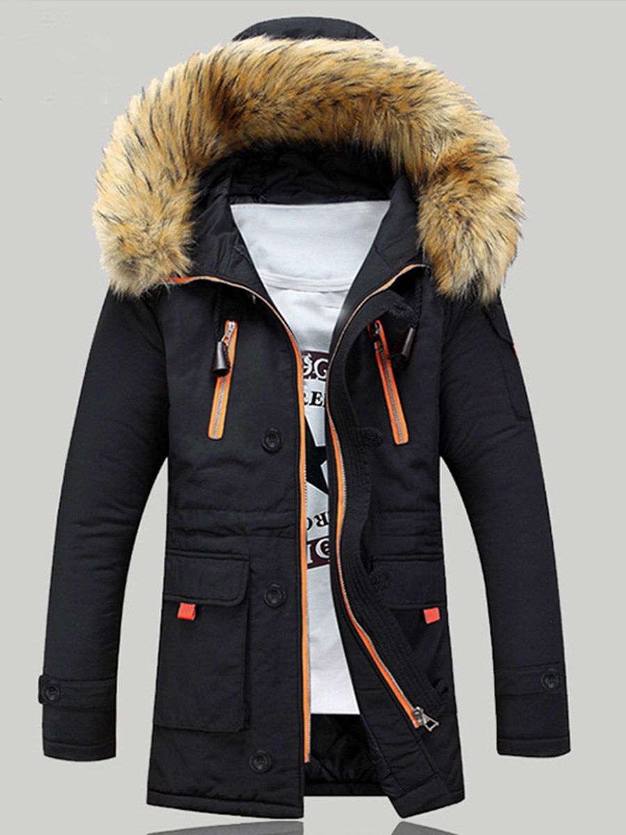 Men Jacket Winter Thick Warmness Basic Jackets Oversize Zipper Black Outwear Hood Casual Parka Coat Parkas Cotton Men's Clothing