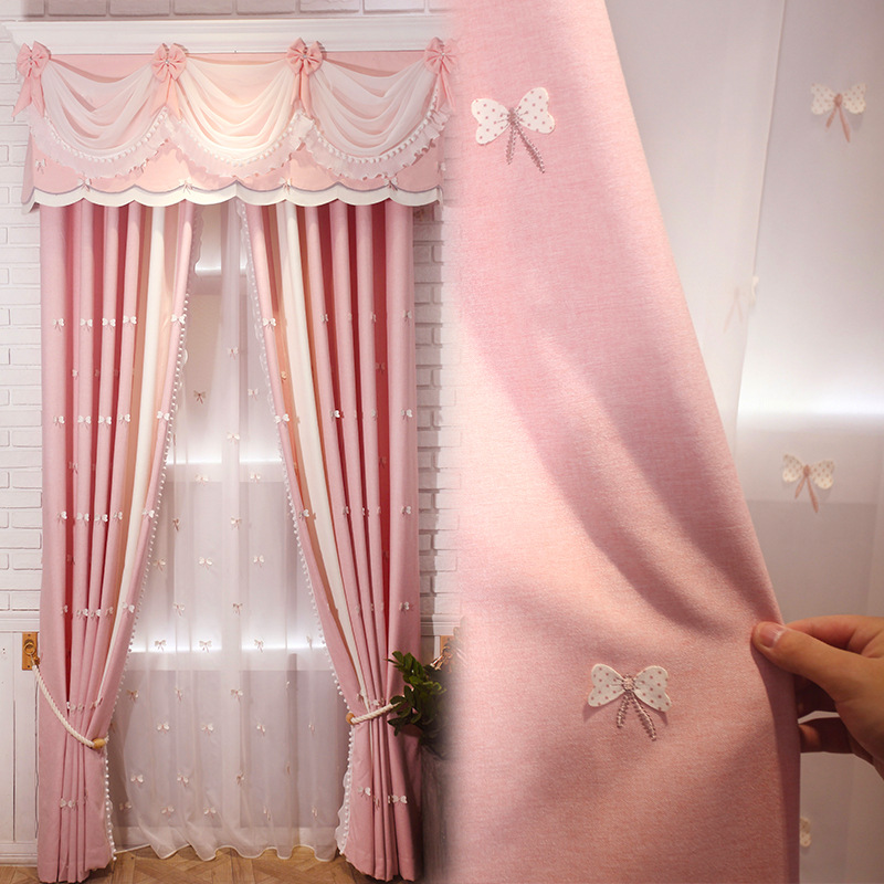 US $14.07 33% OFF|Simple Modern Princess Wind Butterfly Embroidery Children  Shading Curtains for Living Dining Room Bedroom.-in Curtains from Home & ...