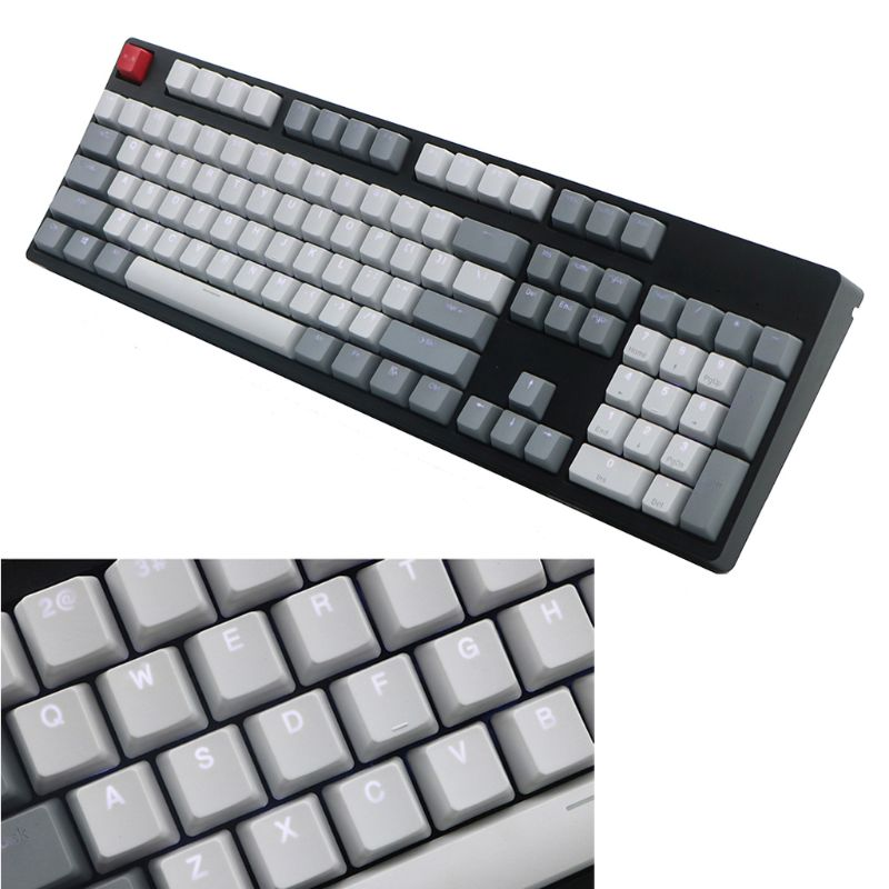 Vintage Style OEM Profile Thick PBT Shot Backlit RGB Keycaps Gray White Red Mix ANSI 108-Key For Cherry MX Switches Mechanical K