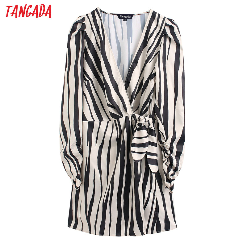 Tangada Fashion Women Striped Print Playsuit Long Sleeve V Neck Bow Tie Vintage Female Jumpsuit BE130