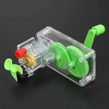 Grün Transparent Hand Kurbel Generator für Kleine Motor, Mini Dynamo Fan Modell Spielzeug Zubehör