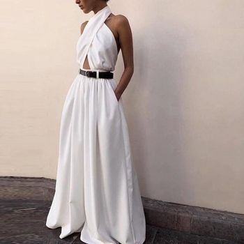 OMILKA Elegant Wide Leg Rompers and Jumpsuits 2020 Summer Women Sleeveless Halter Backless White Club Party Office Lady Overalls white backless design halter sleeveless dress