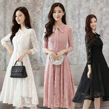 Spring and autumn new style Lace dress Long-sleeved slim slim mid-length dress Bow lace temperament dress цены