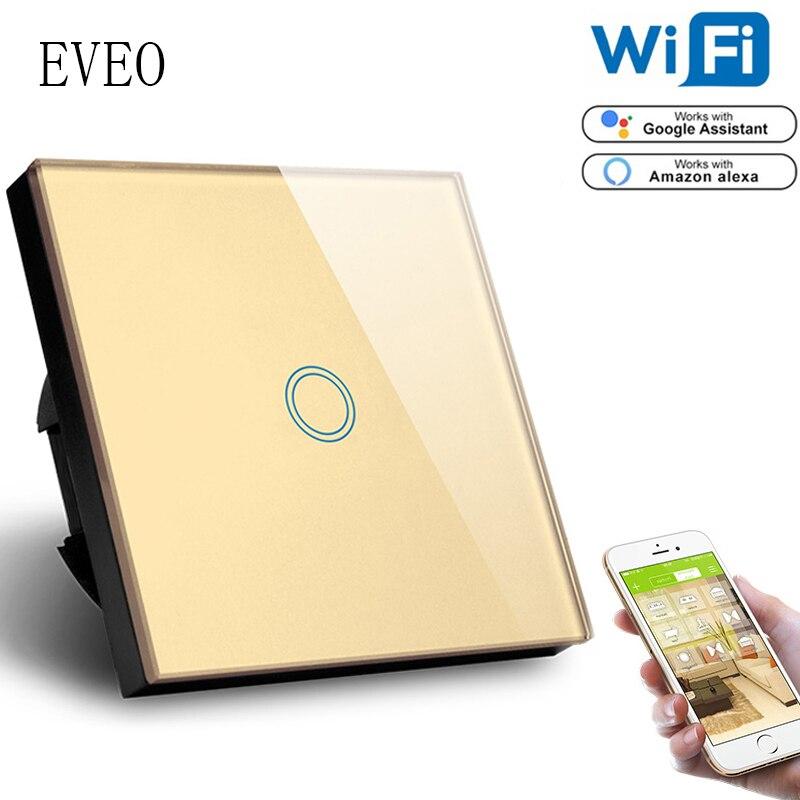 EVEO, norme EU 1Gang wifi contrôle tactile interrupteur 1000 W, Compatible amazon Alexa Google Assistant