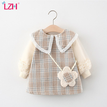 LZH 2021 Autumn Fashion Children's Princess Dress Plaid Dresses For Baby Girls Lace Infant Clothing 1-4 Year Toddler Kids Dress