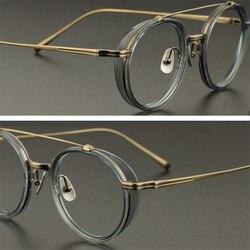 Zerosun титановые очки, мужские маленькие круглые очки в оправе, мужские винтажные очки с толстой боковой оправой для оптики