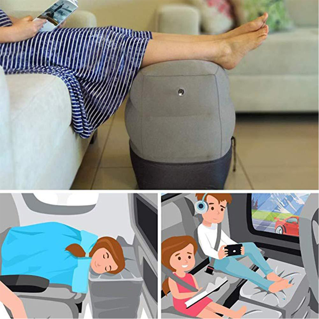 Foot Pillows For Kids Flight Sleeping Foot Pillows Three-Layer Resting Pillow Airplane Car Bus Pillow Inflatable Travel Pillows image