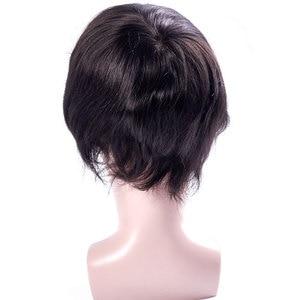 Французский шнурок с ПУ мужские парик Remy индийские волосы сменная система человеческие французские кружева супер шиньоны парик ручной раб...