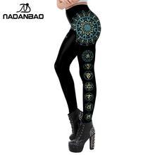 NADANBAO Mandala Chakra legginsy dla kobiet Aztec okrągły Ombre kwiat czarny Fitness leginsy spodnie do ćwiczeń elastyczne Slim Legins Plus tanie tanio Kostek Na co dzień Poliester spandex Other STANDARD Dzianiny