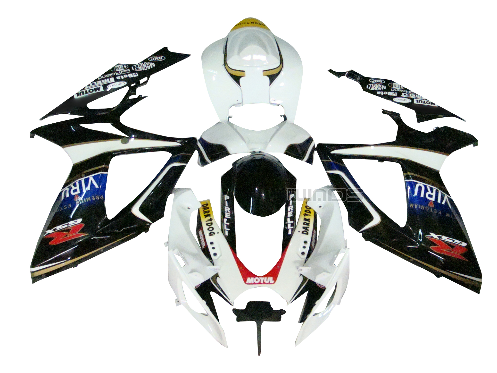 For Suzuki <font><b>GSXR</b></font> <font><b>600</b></font> 750 K6 2006 <font><b>2007</b></font> Injection ABS Bodywork <font><b>Fairing</b></font> Kit Black White image