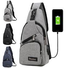 Sac à bandoulière en toile pour hommes, sacoche de charge USB, multi-fonction, anti-vol, pour la taille