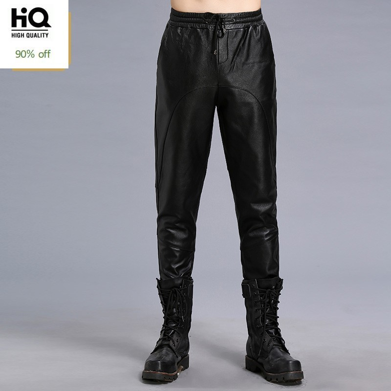 Genuine Leather Mens Pencil Pants 2020 Autumn New Fashion Streetwear Elastic Waist Fleece Lining Trouser Slim Black Pantalon Man