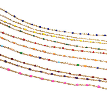 цена 1 Meter Handmade Gold Wire Wrapped Rosary Chain stone Beads Chains for Necklaces Bracelets Anklet Making DIY Jewelry Findings онлайн в 2017 году