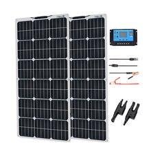 Kit de panel Solar completo, 100 w, 200 wat, Panneau, flexible, 100 vatios, y 24V para batería de 12V, coche, RV, casa, exteriores, carga de energía