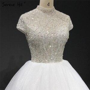 Image 3 - Branco brilho manga curta tule vestidos de casamento 2020 alta pescoço lantejoulas miçangas vestidos de noiva ha2280 feito sob encomenda