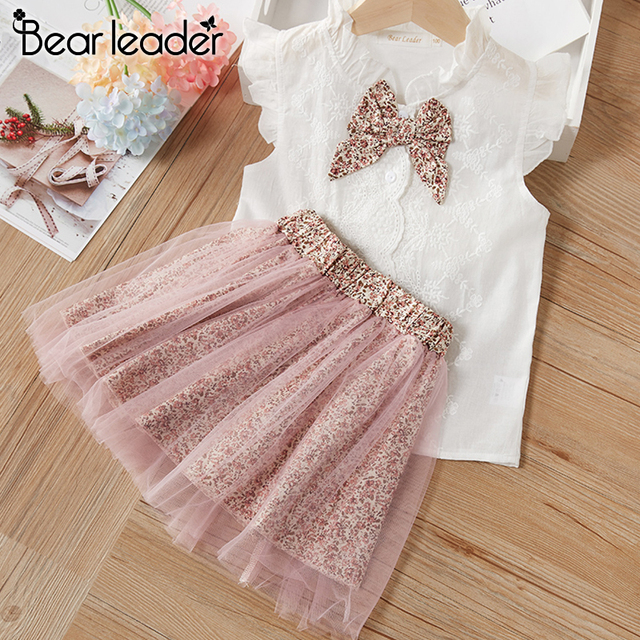Bear Leader Girls Clothing Sets New Summer Sleeveless T-shirt+Print Bow Skirt 2Pcs for Kids Clothing Sets Baby Clothes Outfits 2