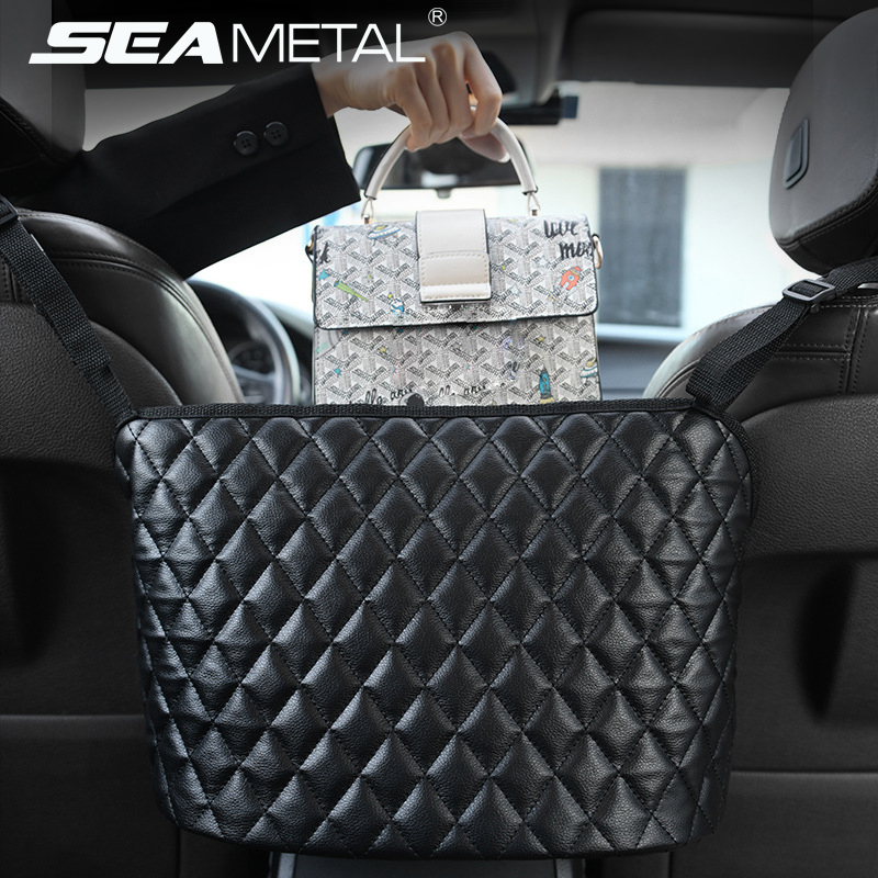 Bolsa de almacenamiento de coche de cuero sintético, bolso de mano, soporte de gran capacidad, bolsillo trasero para asiento, organizador de cosas pequeñas para almacenamiento automático