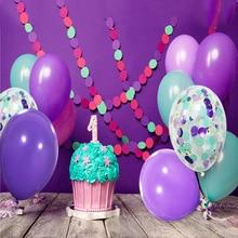 1 комплект 20 PCS С Днем Рождения вечерние декоративные шары Русалка тема фиолетовый латексные шары Круглые Конфетти Свадебный шар Обручение