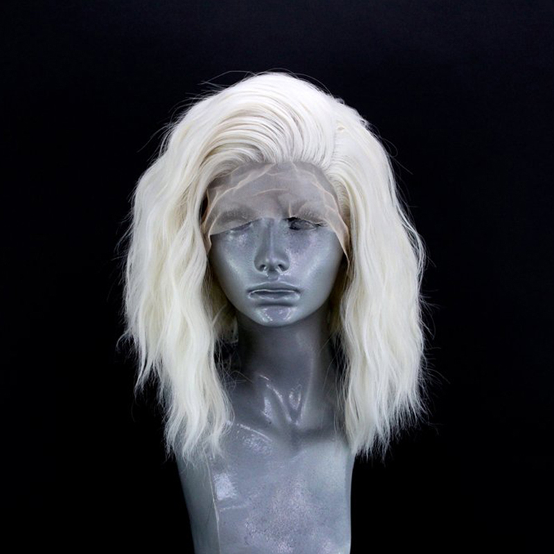 QUINLUX WIGS Platinum Blonde Short Bob Hair Natural Wave Synthetic Lace Front Wig For Women Free Part Heat Resistant Makeup Wigs