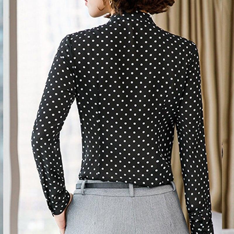 Women Casual polka dots blouse Chiffon long sleeve office ladies  Button Shirt black tops plus size Black Women Clothing (4)