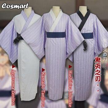 Anime Demon Slayer Kimetsu no Yaiba Agatsuma Zenitsu Kamado Tanjirou Hashibira Inosuke Bathrobe Kimono Cosplay Costume Uniform H 1