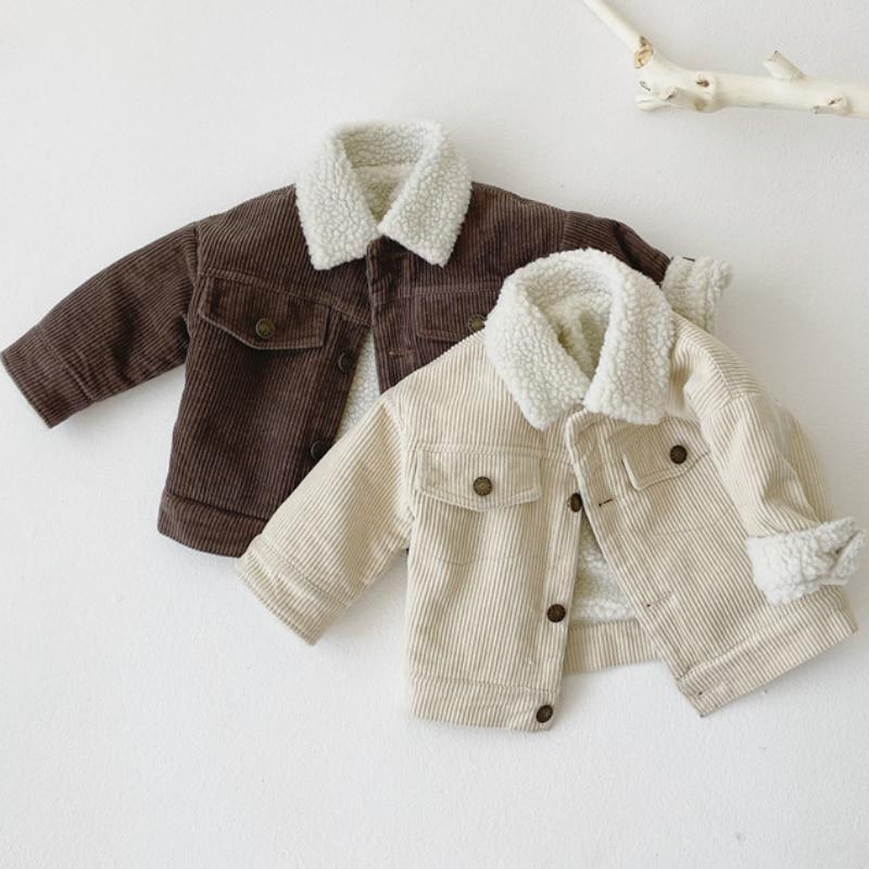Модная зимняя куртка для маленьких девочек и мальчиков теплое пальто из вельвета с мехом для маленьких детей верхняя одежда для малышей, одежда высокого качества, От 1 до 5 лет-1