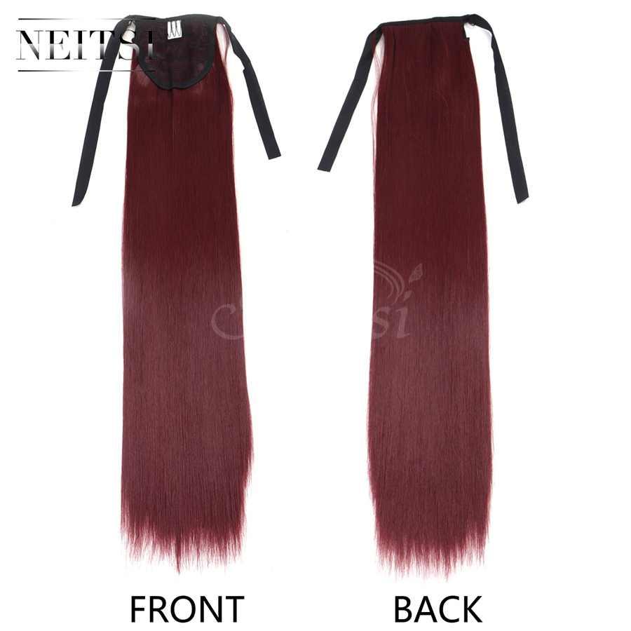 Neitsi 22 ''1 pc Clip In Haarstukje Rechte Paardenstaart Cabelos BUG Pince Cheveux Hittebestendige Hair Extensions Voor Vrouwen's