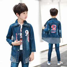 2019 Autumn Boys denim trench coat with 5 print on the back for boys jacket 6 8 10 12 Year Kids outwear DX07027