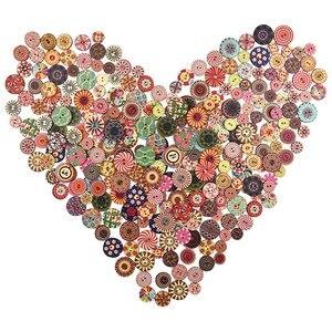 300 шт. разноцветные Круглые деревянные кнопки для рукоделия с 2 отверстиями для художественного вязания шитья DIY украшения