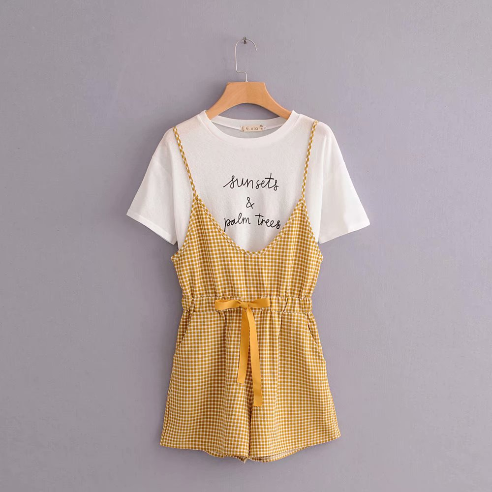 WOMEN'S Suit Two-Piece Set Wide-Leg Students Tops Loose-Fit Suspender Pants One-piece Korean-style High-waisted T-shirt Plaid Fa