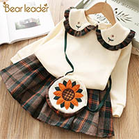 H42e2dd4cee7142a1be9051c1b2c5ec19u Bear Leader Girls Dress 2019 Winter Geometric Pattern Dress Long Sleeve Girls Clothes Top Coat+ Tutu Dress Sweater Knitwear 2pcs