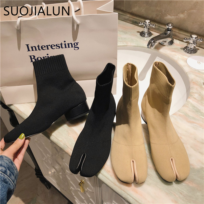 SUOJIALUN Women Ankle Boot 2019 Fashion Brand Split Toe Flat Heel Elastic Sock Slip On Casual Stretch Shoes Boots