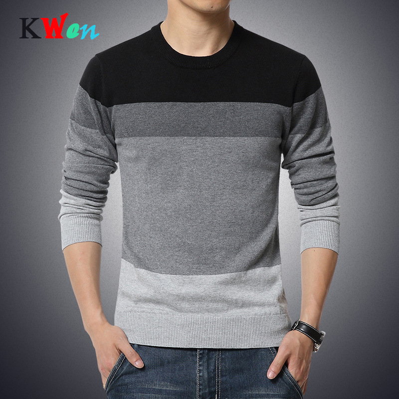 2019 Autumn Casual Men's Sweater Slim Fit O-Neck Striped Knittwear Mens Sweaters Pullovers Pullover Men Pull Homme M-3XL