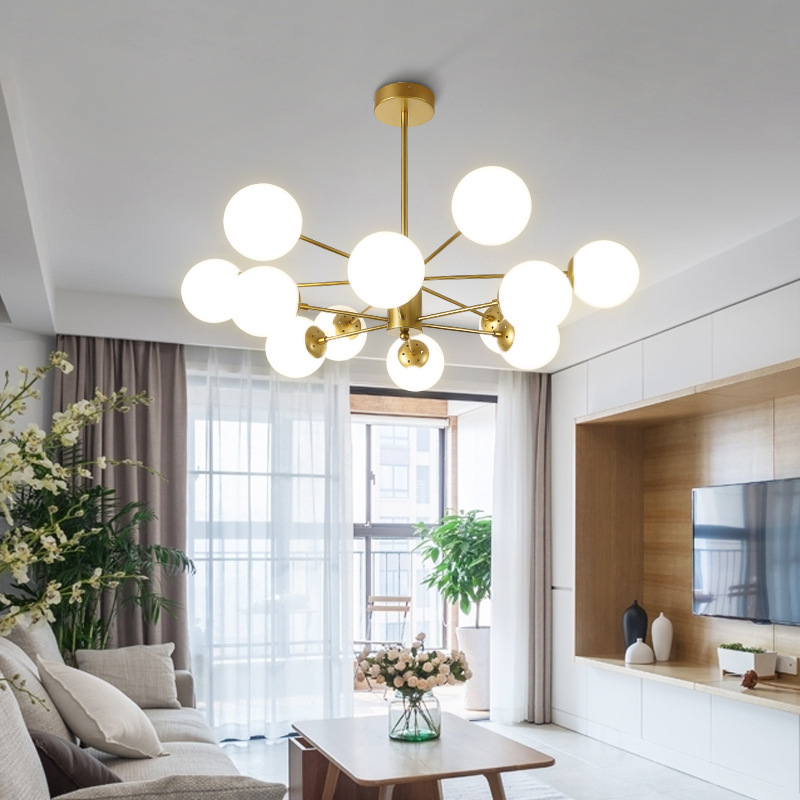 Nordic Simple Living Room Ball Glass Chandelier Gold Black Iron Base Studio Bedroom Hanging Lights Light Fixture|Pendant Lights| |  - title=
