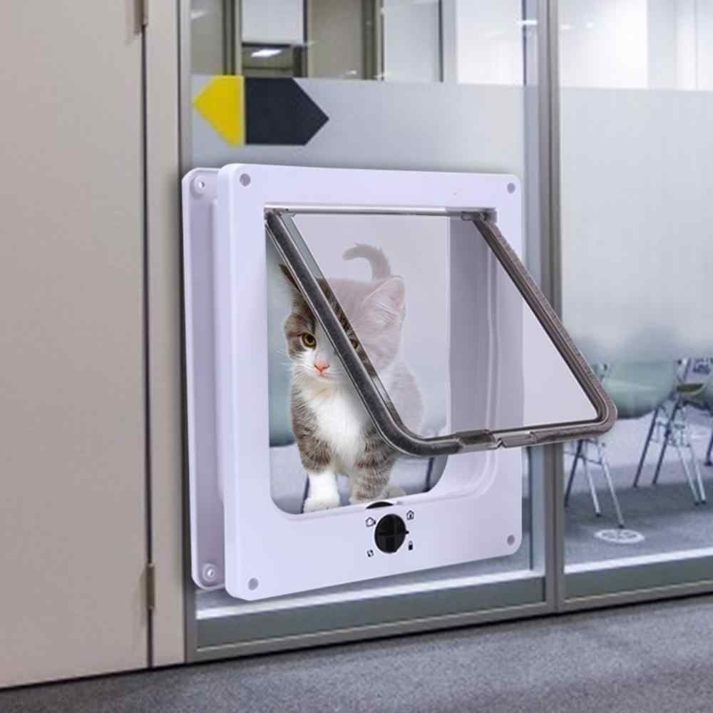 4 דרך הניתן לנעילה כלב חתול חתלתול דלת אבטחה דש דלת ABS פלסטיק S/M/L חיה קטן לחיות מחמד חתול כלב שער דלת ציוד לחיות מחמד