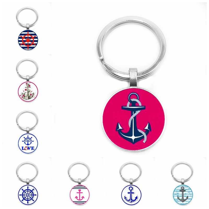 2019 ใหม่ร้อน Cruise เรือ Anchor Rose Glass Cabochon พวงกุญแจแฟชั่น Key แหวนจี้ของขวัญเครื่องประดับ